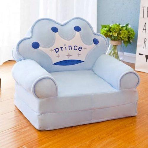 Detské rozkladacie kresielko PRINCESS- modré 2v1